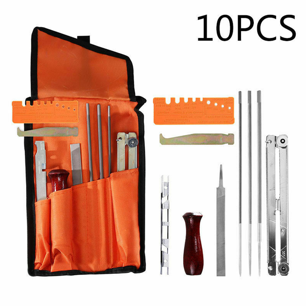 10pcs Guide Easy Install Handle Chain Saw Contains Multifunctional Sharpening Kit File Tool Set Durable Professional Woodworking