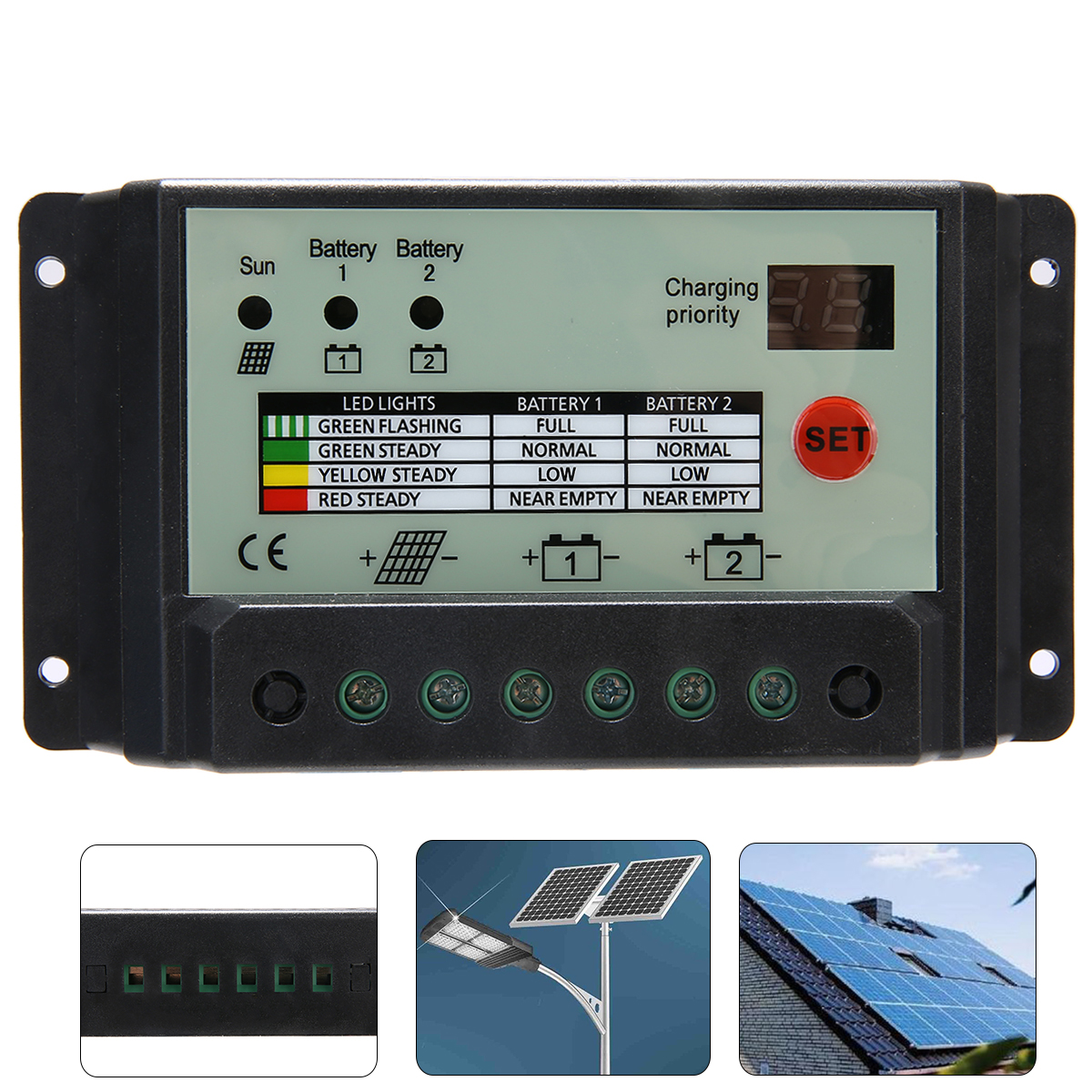 20A Dual Battery Solar Charge Controller Regulator For 12V or 24V Batteries Solar Controllers