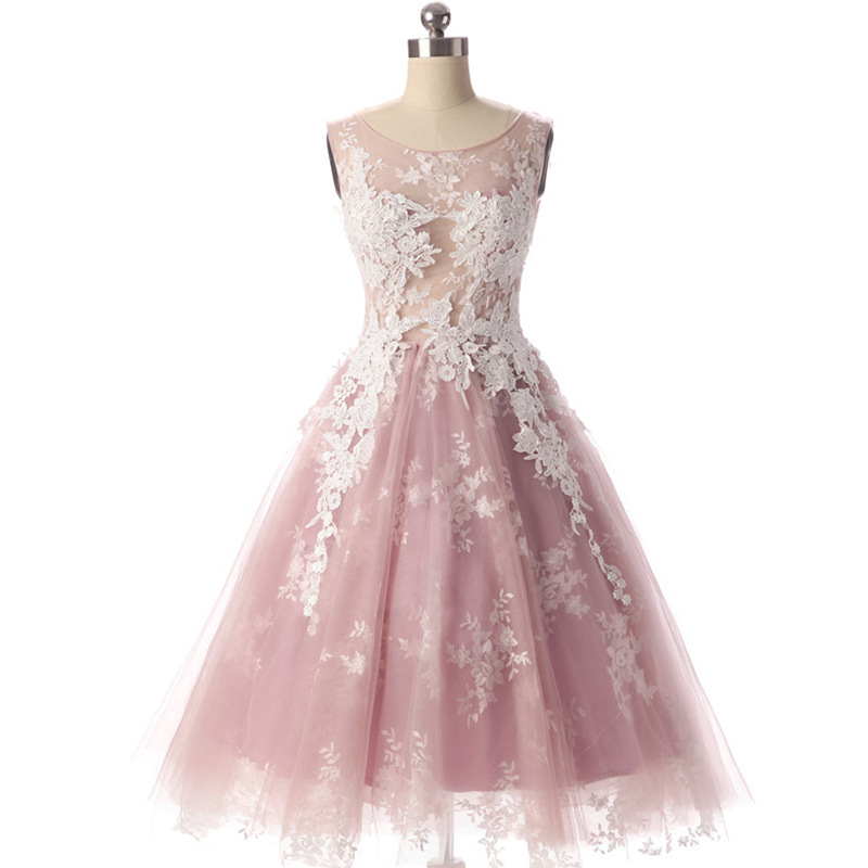 Dusty Pink Cocktail Dresses Short Lace Appliques Party Dress Homecoming Gown Real  New Fashion Hot Sale Dress