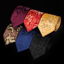 Luxury Mens Dress 9cm Gorgeous National Wind Red Chinese Dragon Pattern Jacquard Groomsman Groom Wedding Silk Tie