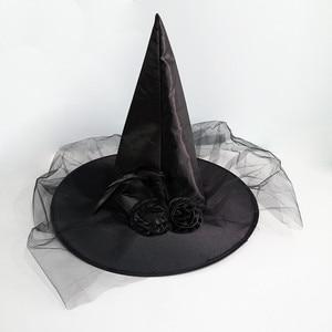 Image 5 - 1PCHalloween מכשפה כובע כובעי קישוט מסיבת תחפושות למבוגרים נשים שחור מכשפה כובע עבור ליל כל הקדושים תלבושות אבזר כובעים