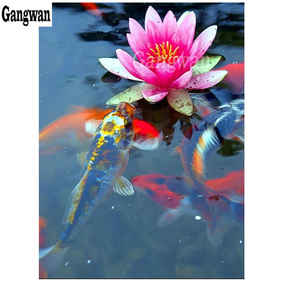DIY Diamond Painting Carp and flower full drill Mosaic Diamond Painting fish koi pattern Cross Stitch Embroidery Home Decorative