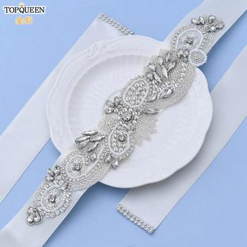 TOPQUEEN S280 Wedding Crystal Belt Womens Belt with Rhinestones Beaded Bridal Belt with Pearls Clear diamod Bridesmaids Belt luxury clear leaf design rhinestones beaded trim bridal wedding garter sets with white ribbon bow handmade