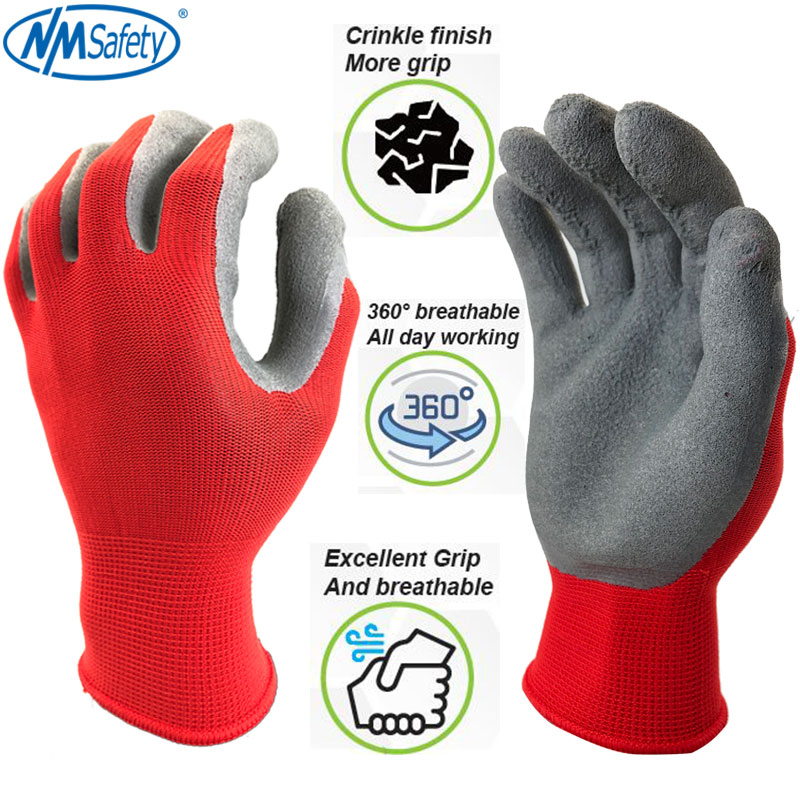 NMSafety High Quality Breathable Flower Print Polyester Liner Coated PU Gloves Gardening Women Gants