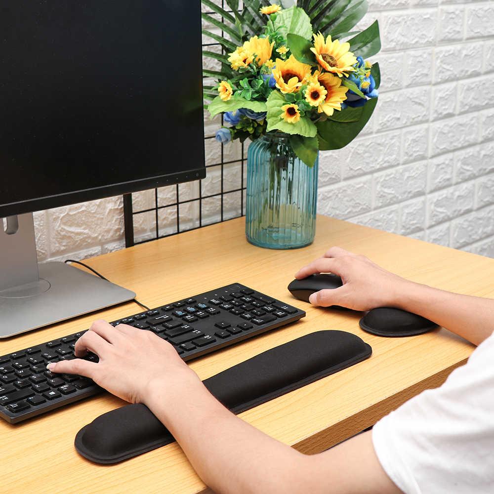 メモリスポンジキーボードリストレストパッドゲームアンチスリップマウスマットセットハンドサポートオフィス用品のノートパソコンのアクセサリー