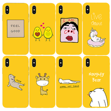 Yellow Soft Case for Apple iPhone 7 8 Plus X Xs Max XR 5s 5 SE 6 6s Plus Cartoon Animal pattern Phone Cover Coque(China)