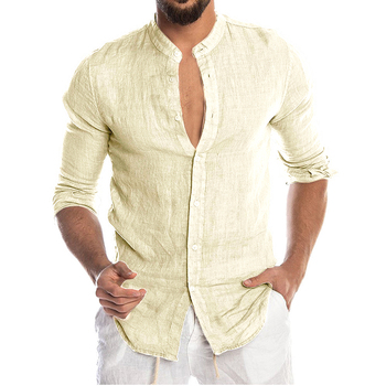 Men's New Summer Casual Cotton Linen Long Sleeve Button Down Shirt For Man Casual Shirts Cotton Shirts Dress Shirts Long Sleeve Men Print Shirts Shirts & Tops Slim Fit Summer Shirts T-Shirts Color: Beige Size: European Size M