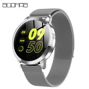 "Image 1 - SCOMAS New Fashion CF18 Smart Watch 1.22""IPS Tempered Glass Heart Rate Blood Pressure Monitor Multi Sport Women Band Smartwatch"