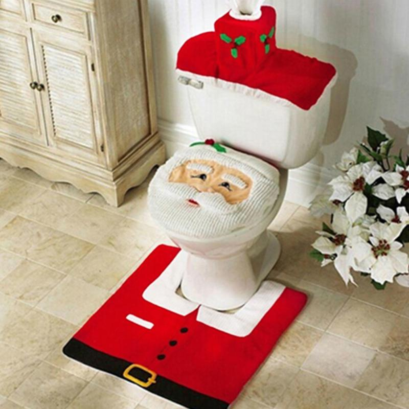 2/3PCS Christmas Santa Toilet Seat Cover Anti-Slip Bathroom Mat Toliet Rug Christmas Decoration For Home New Year Mat For Home