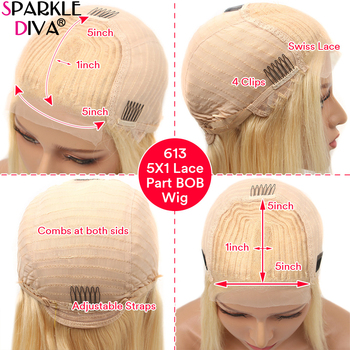 613 Blonde Short Bob Wigs Lace Front Human Hair Wigs Pre Plucked With Baby Hair Brazilian Straight Remy Hair 5*1 Lace Bob Wig 4