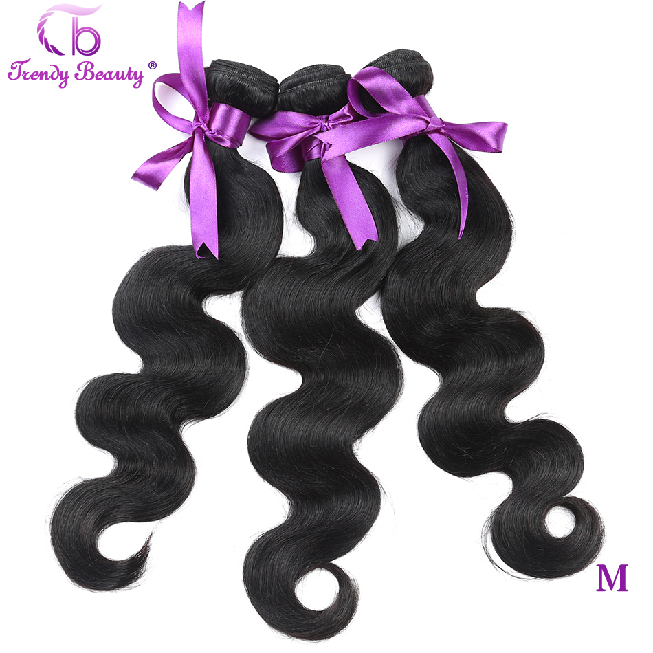 Brazilian Body Wave Hair 3 Bundles In Total  Human Hair Extension Color 1B Non-remy Hair Weave Bundles Free Ship Trendy Beauty