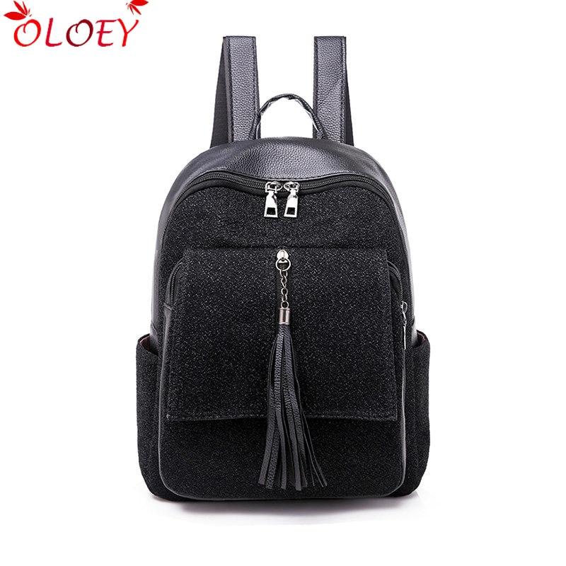 New Girl's Backpack 2019 Fashion Shining Shoulder Bag Women Multi-Function Tassel Back Pack Teenage Girl Kids Leather Causal Bag