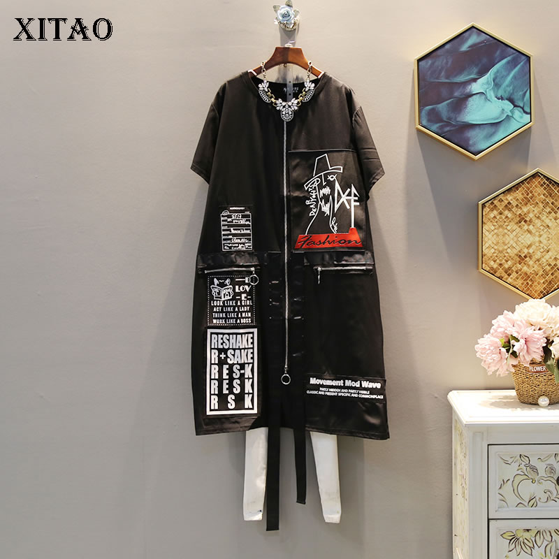 XITAO Tide Print Letter Plus Size Dress Suquined Elegant Women Irregular Pocket Korean Fashion Pullover Match All Summer DLL3176 1