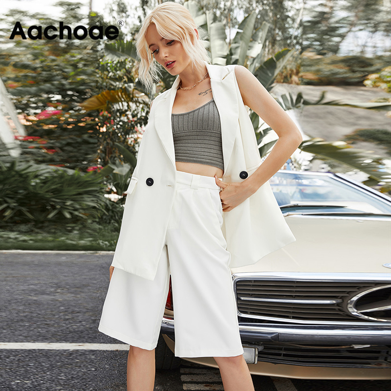Aachoae Women Fashion Solid Two Piece Set 2020 Office Wear Double Breasted Blazer Vest With Casual Loose Half Wide Leg Pants