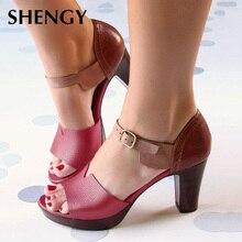 2019 Chunky Heel Women Sandals Summer Vintage Ankle Strap Elegant Ladies