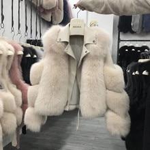 2020 Whole piece skin real leather jacket women fox fur 100%