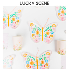 Butterfly Shape Paper Plates Cups Napkins Sets with Disposable Lightweight Decorative Birthday Party and Wedding Party S01100