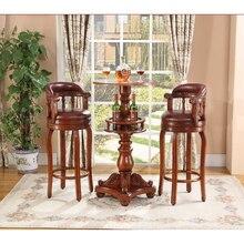 Деревянный дом маленькая барная мебель, стол и кожаные барные стулья Горячая WA709