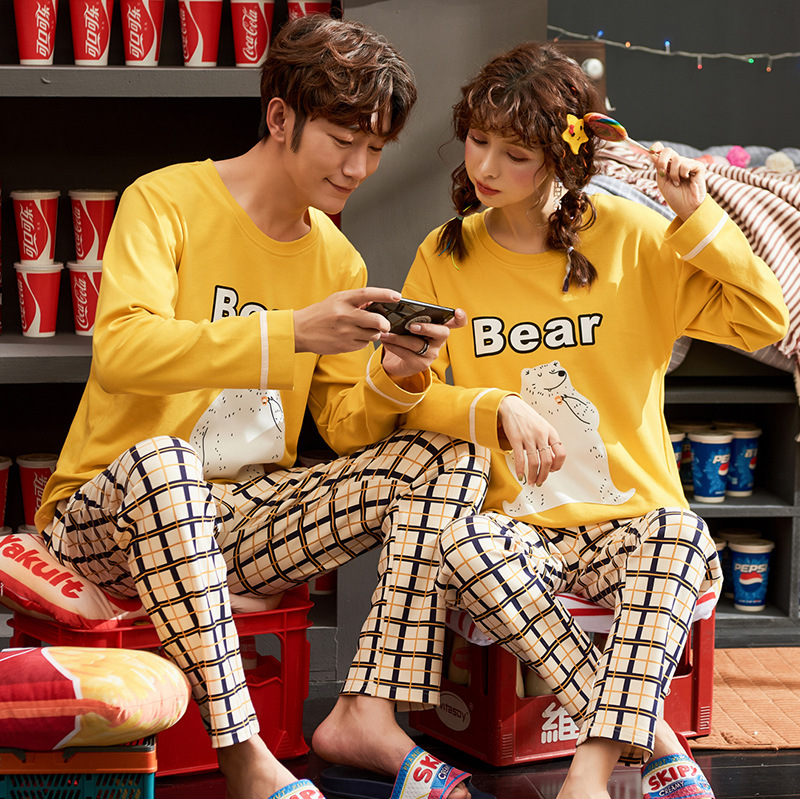 Couple Cotton Pajama Set Couple Sleepwear Women Homewear Men Nightwear Spring Autumn Winter Long Sleeve Casual Korean Pyjamas