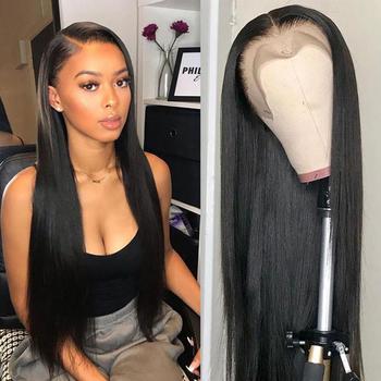 Prosto koronkowa peruka na przód Bob peruka koronkowa peruka ludzkich włosów peruki dla czarnych kobiet 30 Cal peruka z włosów dziewiczych kości proste włosy ludzkie peruka tanie i dobre opinie longwear Włosy remy CN (pochodzenie) Brazylijskie włosy średni rozmiar Średni brąz Tylko ciemniejszy kolor szwajcarska koronka