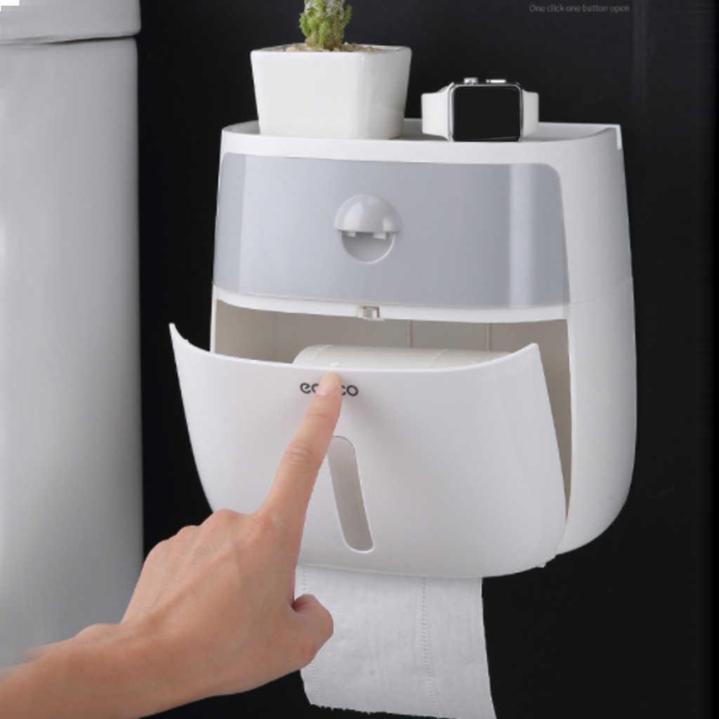 Boîte de rangement étanche en plastique, support pour téléphone avec étagère, cuisine, toilettes, porte-rouleau de papier