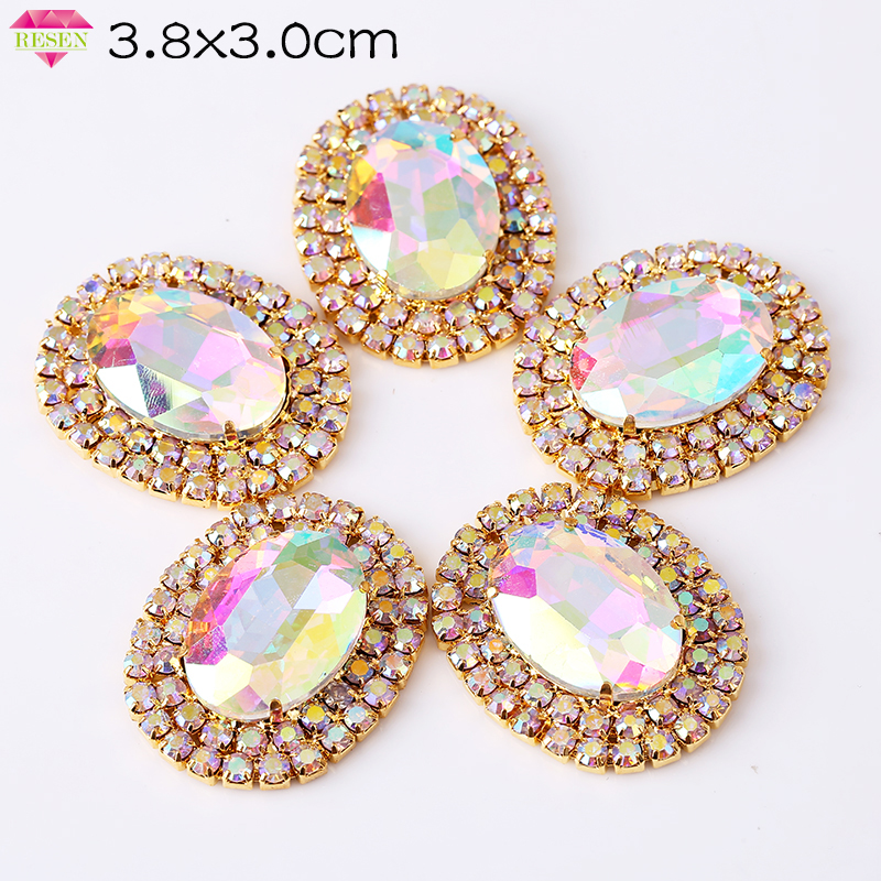 RESEN 3.8X3.0CM Top Quality Oval Crystal AB Sew On Rhinestones Applique Flatback With Gold Base Sewing Crystal For Wedding Dress