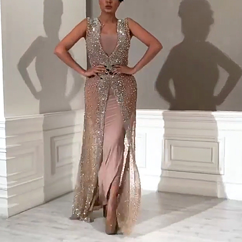Linglewei New Spring and Summer Women's Dress Sexy & Club V-Neck Casual Zippers Slim Elegant dress