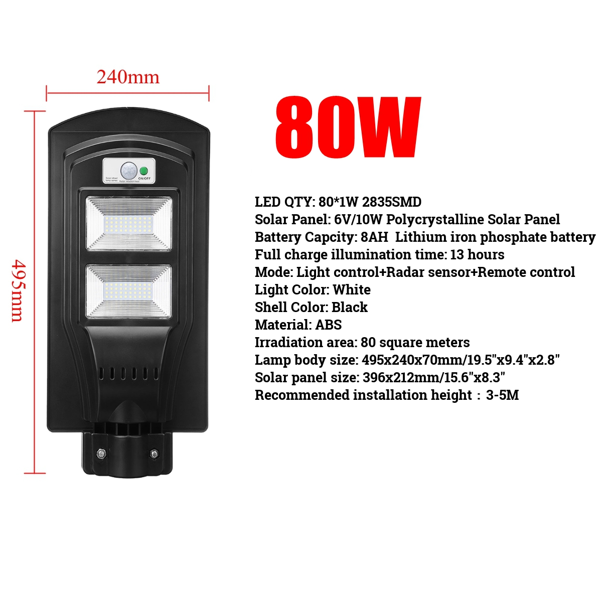 Dropship 40W/80W/120W LED Wall Lamp Solar Street Light 2 In 1 Constantly Bright & Induction Radar PIR Motion Sensor Lamp+remote