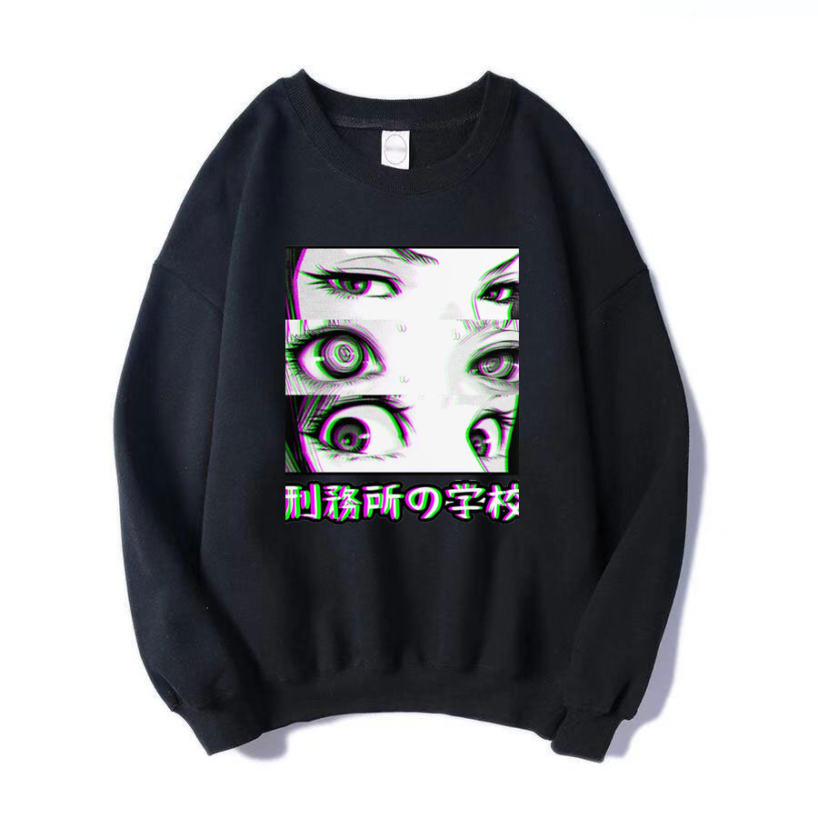 Japan Anime Prison School Eyes Sad Men Sweatshirt Hoodies 2019 Spring Winter Hot Sale Casual Loose Fit Hip Hop Fashoin Pullover