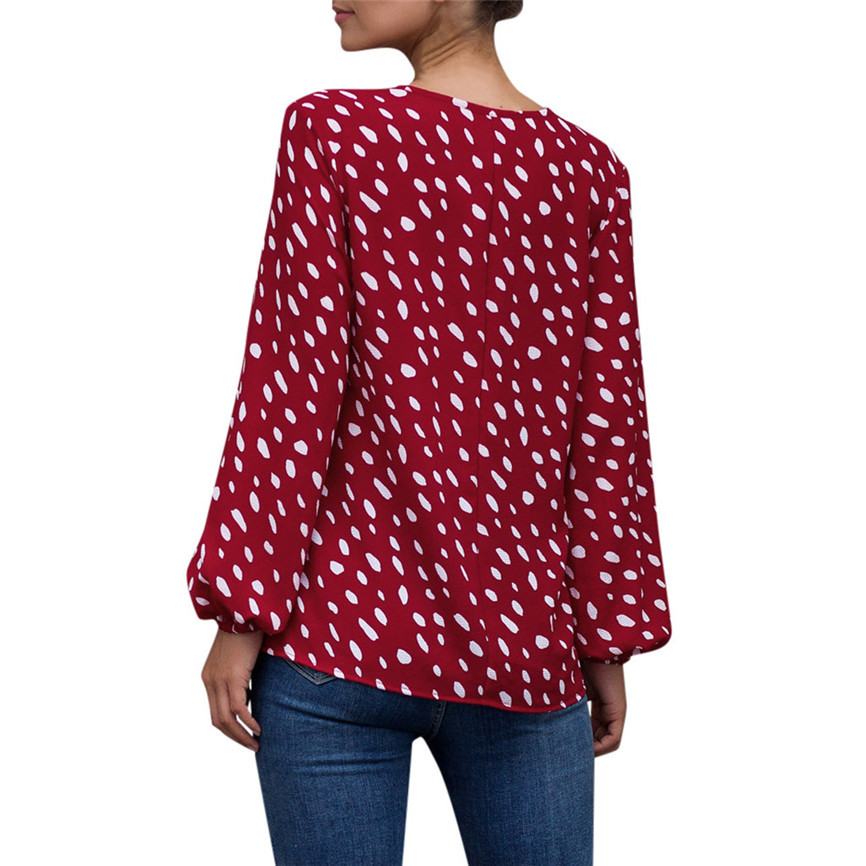 LINKIOM Womens Daily Dot Print V Neck Puff Sleeve Top Ladies Casual Loose T Shirt Blouse