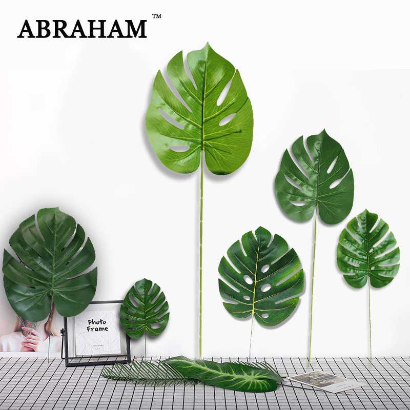 Real Touch Fake Palm Tree Leafs Plastic Artificial Plant Tropical Leaves Big Monstera Green Turtle Leaf For Hawaii Party Decor