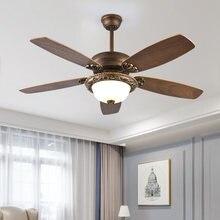 220v 52 дюймов 5 лезвий Винтаж потолочный вентилятор с светильник