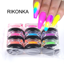 9 Boxes/Set Neon Nail Glitter Powder Luminous Pigment Fluorescent Powder Nail Art Decor ManicureNail Glitters Glow in the Dark