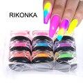 Неоновый Блестящий Порошок для ногтей RIKONKA, светящийся пигмент, флуоресцентная пудра для дизайна ногтей, украшение для маникюра, блестки, св...