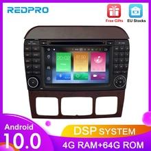 """7 """"Android10.0 سيارة تحديد مواقع لمشغل أقراص دي في دي الملاحة لبنز SCL الفئة S320 S350 W220 W215 CL600 1998 2005 الصوت والفيديو راديو الوسائط المتعددة"""