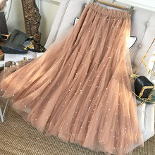 Womens 2021 New Stapled Bead Pompous Mesh Skirts Princess Elastic High Waist Vintage Black Tulle Pleated Mid Long INS Skirts