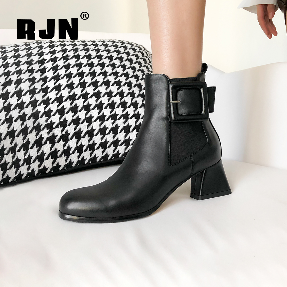 New RJN Genuine Leather Women Ankle Boots Buckle Decoration Slip-On Comfortable Round Toe Med Heel Fashion Winter Chelsea Boots RO14