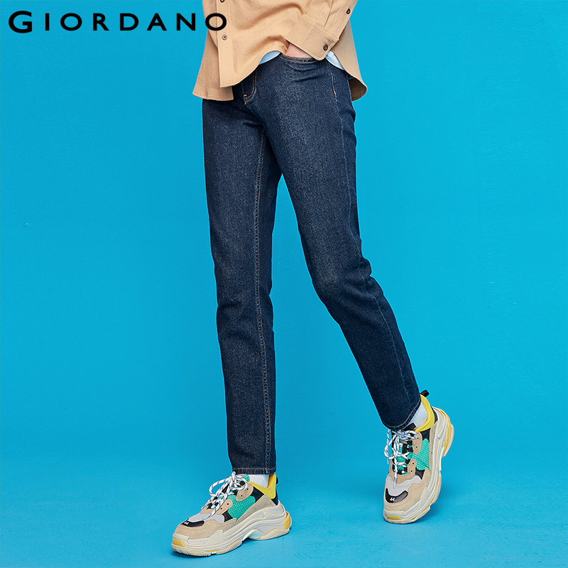 Giordano Men Denim Jeans Men Mid Rise Zip Fly Five Pocket Denim Men Jeans Cotton Spandex Stretchy Jeans Masculina 01119088