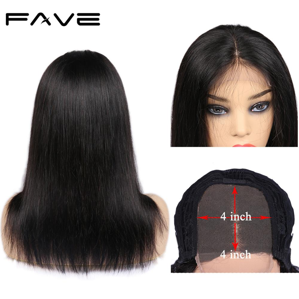 FAVE 4X4 Lace Front Straight Human Hair Wigs Middle Part 14
