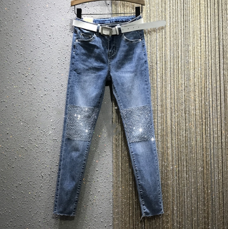 Village Jeans Woman 2020 Spring New High-Waist Knee Length Rhinestone Stretch Slim-Fit Pencil Jeans Jean Skinny Jeans Woman