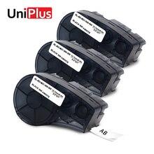 UniPlus 3PK M21 500 595 Black on White Label Maker 12mm Replacement for Brady Id Pal BMP21 Labpal Printer Vinyl Tape
