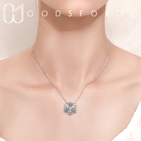 100% 925 sterling silver turquoise snow pendant necklace personality original design for women fashion jewelry