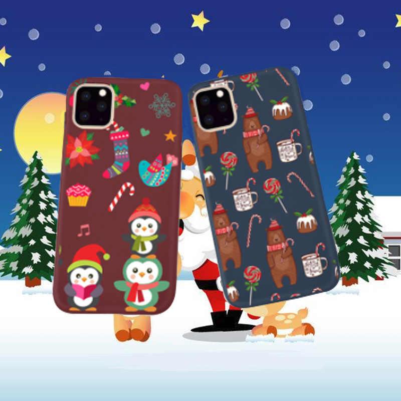 Noel Ultra ince sevimli iphone için kılıf 11 pro max 7 8 6 s artı xs max xr x durumda serin silikon karikatür ağaç Elk geri Coque Tpu
