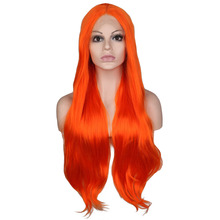 QQXCAIW Synthetic Lace Front Wig Natural Light Orange Glueless Hairline Long Wave Wigs For Women