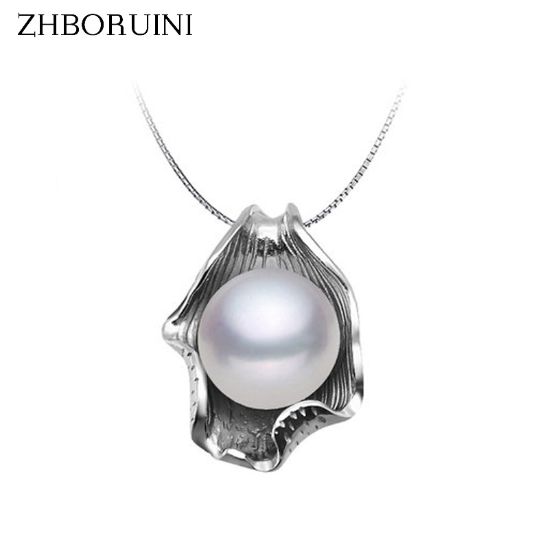 ZHBORUINI Pearl Necklace Pearl Jewelry 925 Sterling Silver Jewelry For Women Natural Freshwater Pearl Seashell Pendants Gift