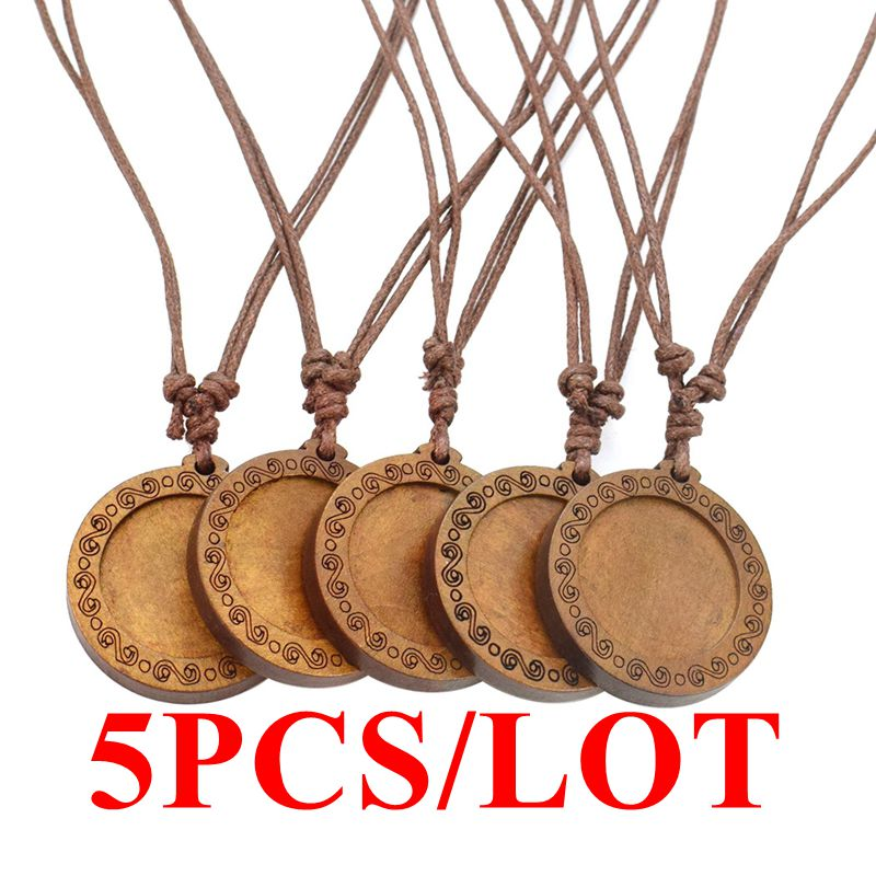 5PCS/LOT Blank Pendant Base Vintage Wooden Rope Chain Necklace Tray Diy Accessories Jewelry Making