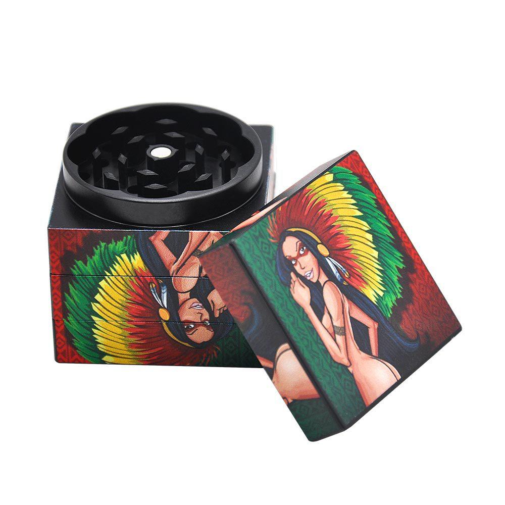 Skull / Indian Girl Herb Grinder 50MM 4Layers Aluminum Tobacco Grinder Spice Mill Herbal Grinder Crusher pipe 6