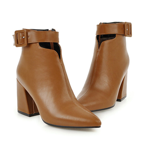 Image 4 - WETKISS Ankle Strap High Heels Women Boots Pointed Toe Footwear Zip Female Booties Pu Shoes Woman Autumn 2020 Plus Size 34 46