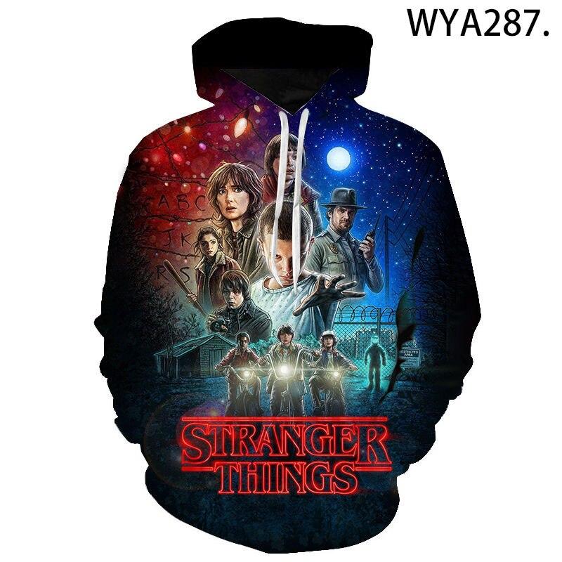 2020 New Fashion Casual Stranger Things Hoodies Sweatshirts 3D Printed Men Women Children Streetwear Pullover Boy Girl Kids Tops