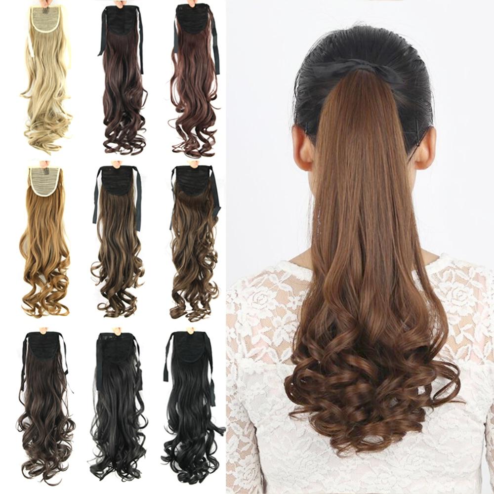Soowee-Extensión de cabello sintético para mujer, extensiones de cabello rizado largo, cola de caballo falsa